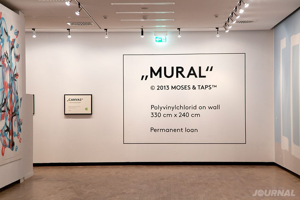 MOSES TAPS LABEL MURAL CANVAS INSTALLATION MUNICH MUSEUM THE GRIFTERS JOURNAL