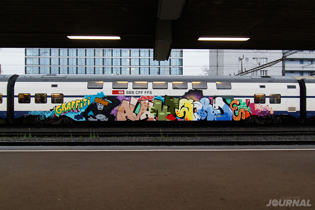 Graffiti Avant Garde MOSES TAPS swiss commuter train The Grifters Journal